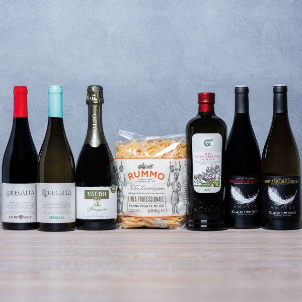 """Genusspaket #2 """"Italienischer Genuss für zu Hause"""" (Wein, Olivenöl & Pasta)"""