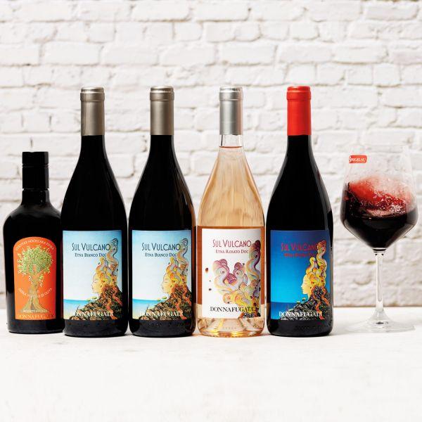 Probierpaket Kellerei Donnafugata Etna Collezione (4 x 0,75l; 1 x 0,5l) mit Spiegelau Weinglas