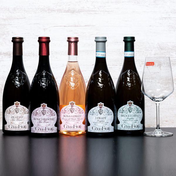 Probierpaket Kellerei Cà dei Frati (5 x 0,75l) mit Spiegelau Senti Vini Weinglas