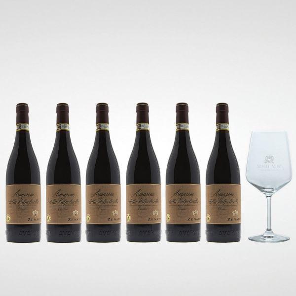 Sparpaket Zenato Amarone Classico DOC 2016 (6 x 0,75l) mit Spiegelau Senti Vini Weinglas