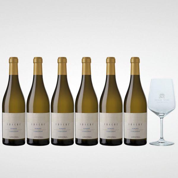 Sparpaket Vite Colte Fosche Piemonte Chardonnay DOC 2019 (6 x 0,75l) mit Spiegelau Senti Vini Weinglas