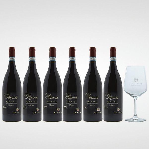 Sparpaket Zenato Ripassa Valpolicella Ripasso Superiore DOC 2016 (6 x 0,75l) mit Spiegelau Senti Vini Weinglas