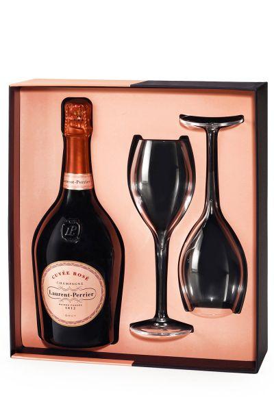 Laurent-Perrier Champagner Cuvée Rosé Box mit 2 Gläser