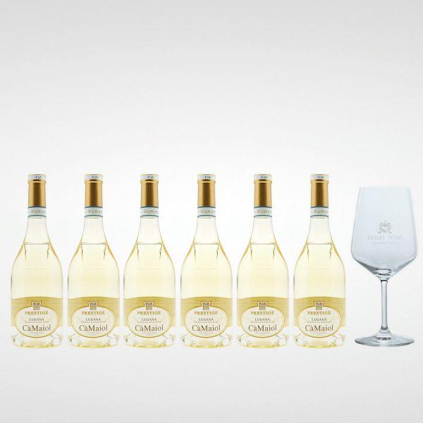 Sparpaket Cà Maiol Lugana Prestige DOP 2019 (6 x 0,75l) mit Spiegelau Senti Vini Weinglas