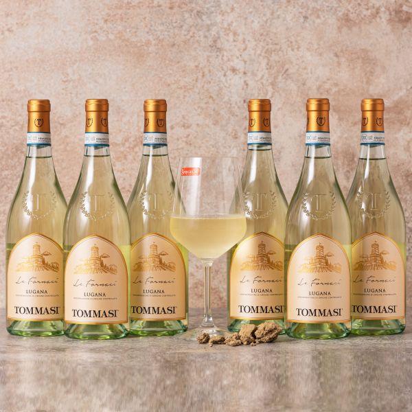Sparpaket Tommasi Lugana Le Fornaci DOC 2020 (6 x 0,75l) mit Spiegelau Senti Vini Weinglas