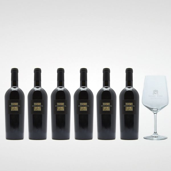 Sparpaket Cantine San Marzano Sessantanni Primitivo di Manduria DOP 2017 (6 x 0,75l) mit Spiegelau Senti Vini Weinglas