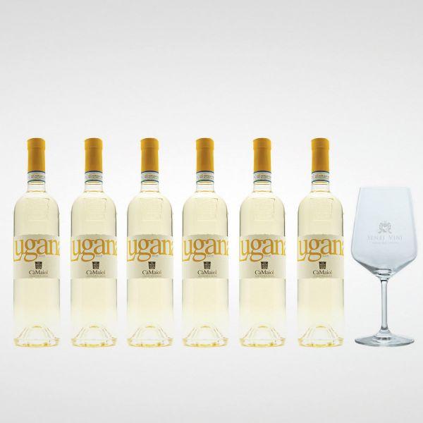 Sparpaket Cà Maiol Lugana DOP 2020 (6 x 0,75l) mit Spiegelau Senti Vini Weinglas