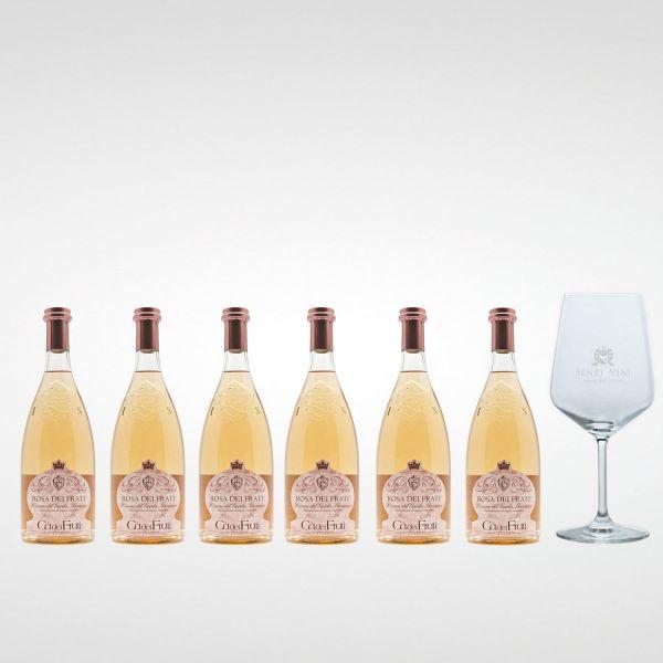 Sparpaket Cà dei Frati Rosa dei Frati DOC 2020 (6 x 0,75l) mit Spiegelau Senti Vini Weinglas