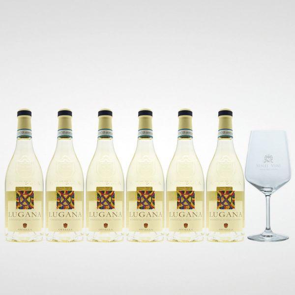 Sparpaket Ottella Lugana DOC 2020 (6 x 0,75l) mit Spiegelau Senti Vini Weinglas