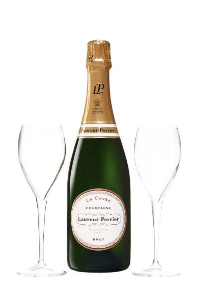 Laurent-Perrier Champagner La Cuvée Brut Box mit 2 Gläser