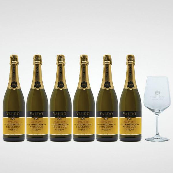 Sparpaket Valdo Marca Oro Prosecco Superiore DOCG (6 x 0,75l) mit Spiegelau Senti Vini Weinglas