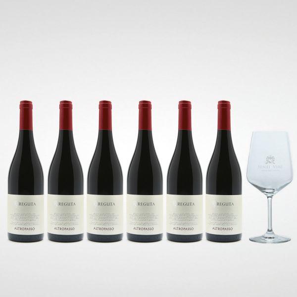 Sparpaket Reguta di Anselmi Giuseppe e Luigi Altropasso Rosso delle Venezie IGP 2018 (6 x 0,75l) mit Spiegelau Senti Vini Weinglas