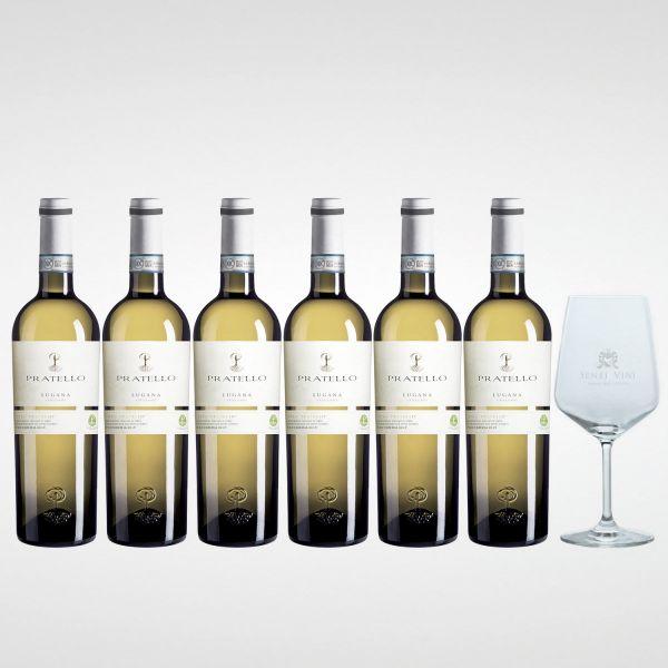 Sparpaket Pratello Lugana Catulliano DOC 2020 (6 x 0,75l) mit Spiegelau Senti Vini Weinglas