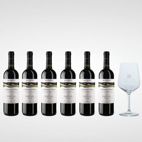 Sparpaket Vite Colte Barbera D'Asti La Luna e i Falò DOCG 2018 (6 x 0,75l) mit Spiegelau Senti Vini Weinglas