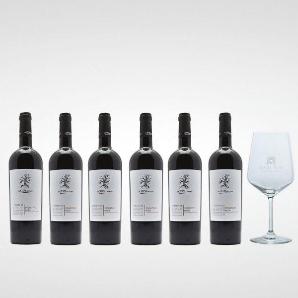 Sparpaket Cantine San Marzano I Tratturi Primitivo IGP 2019 (6 x 0,75l) mit Spiegelau Senti Vini Weinglas